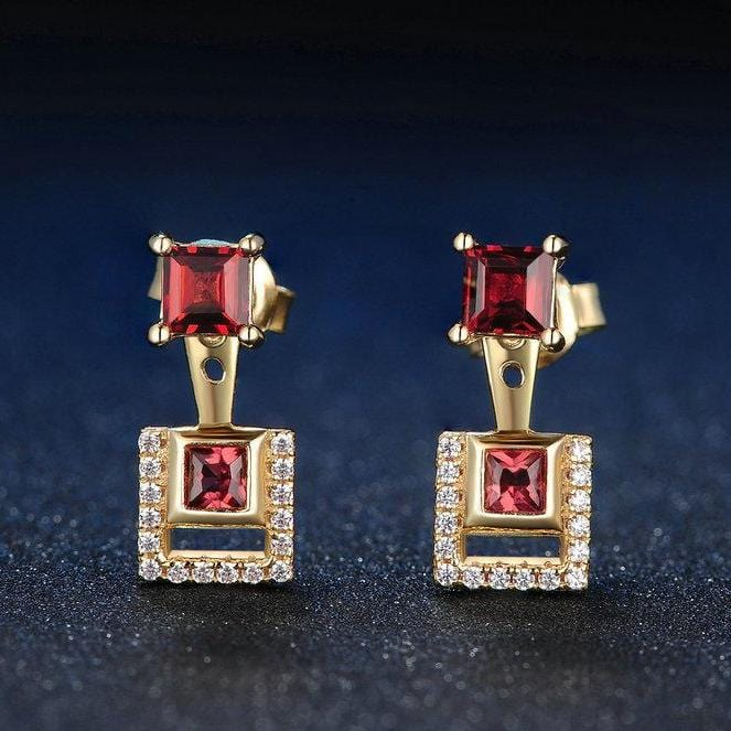 Square Red Garnet 14K Yellow Gold Plated 2 Ways Wearing Sterling Silver Ear Jackets