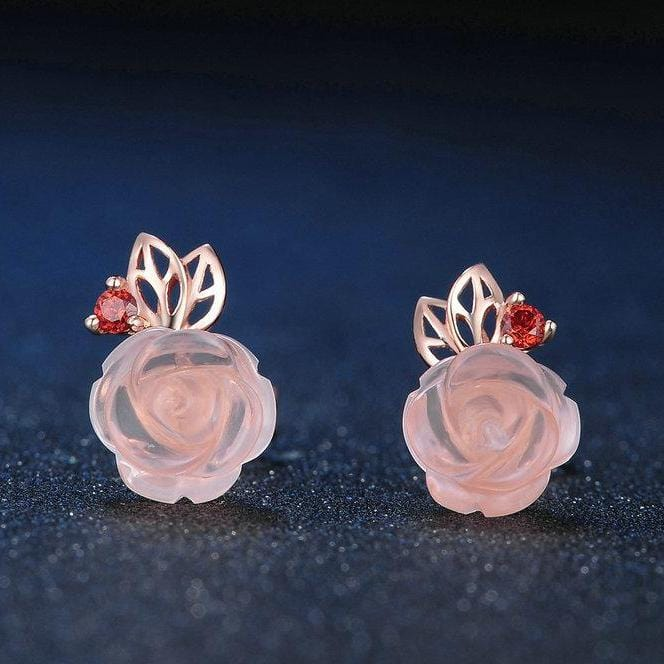 Flower Shape Pink Rose Quartz Red Garnet Sterling Silver Studs Earrings