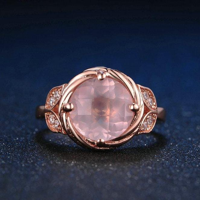 9mm Pink and White Sapphire Adjustable Flower-Shape Rose tone Promise Ring in Sterling Silver