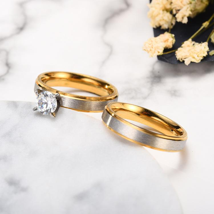4mm Two-Tone Couple Engagement Rings - 1