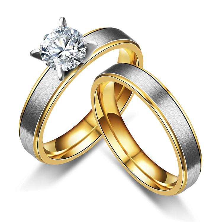 4mm Two-Tone Couple Engagement Rings