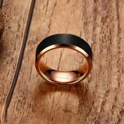 Men's 8.0 Engravable Brushed Rose Edge Wedding Band in Tungsten with Black IP