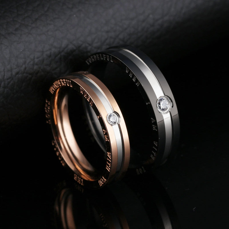 Black and Rose Gold Promise Rings