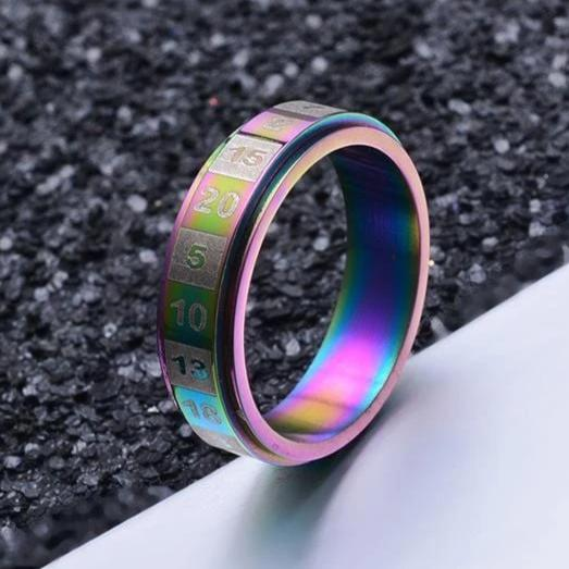 Couple's 6.0mm Fortune Spinner Engravable Titanium Promise Ring
