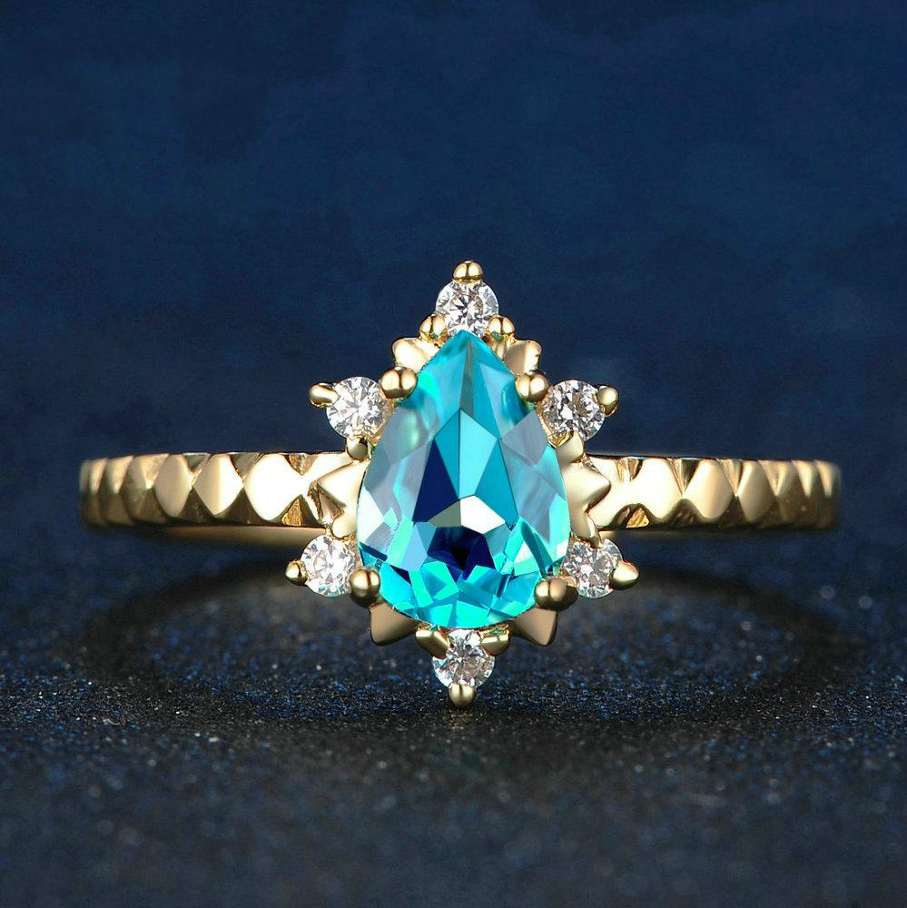Pear-Shaped Blue Sapphire and White Diamond Adjustable Promise Ring in Sterling Silver