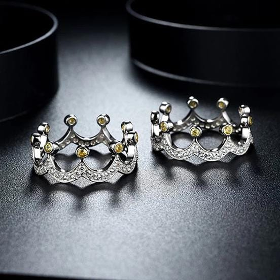 3 Ways Wearing Princess Crown Sterling Silver Wedding Ring Bridal Set for Her ALLBIZIA