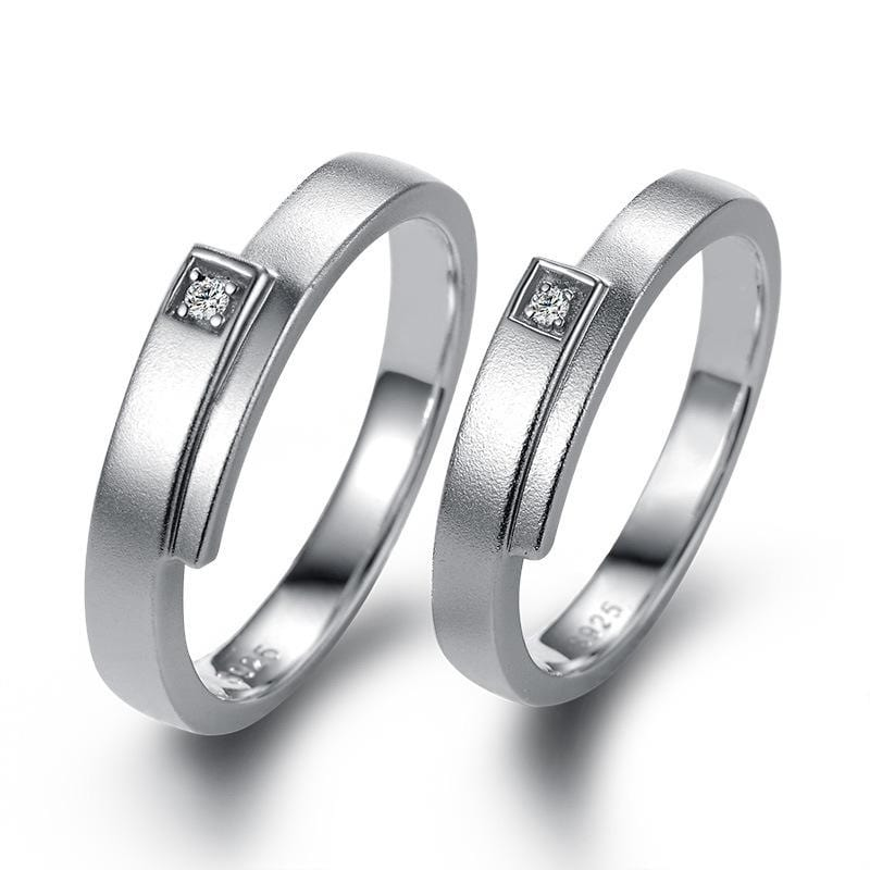 Couple's CZ Diamond Bypass Promise Rings in Sterling Silver