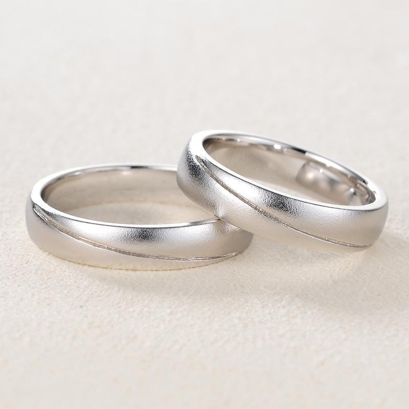 Personalized Sterling Silver Couple Wedding Bands for Him and Her