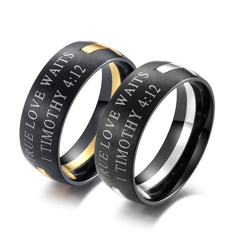 Couple's Removable Cross Titanium Two-Tone Promise Ring With Black IP