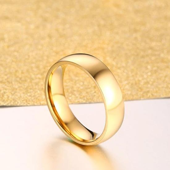 Stainless Steel Yellow Gold Plated Promise Rings for Couples