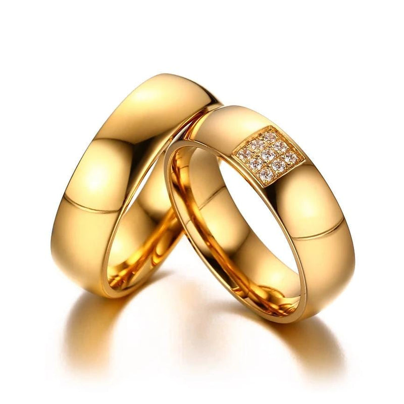 Yellow Gold Tone Stainless Steel Couple Rings for Him & Her