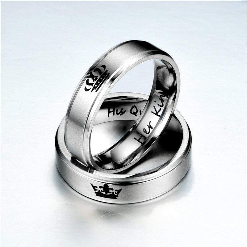 Couple's Her King His Queen Crown Titanium Promise Ring