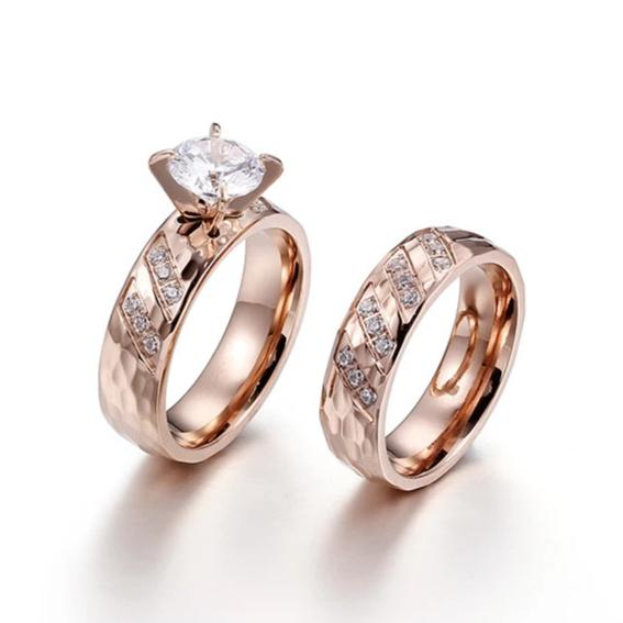 Couple's Round Diamond Hammered Promise Engagement Rings in Titanium with 8K Rose Gold IP