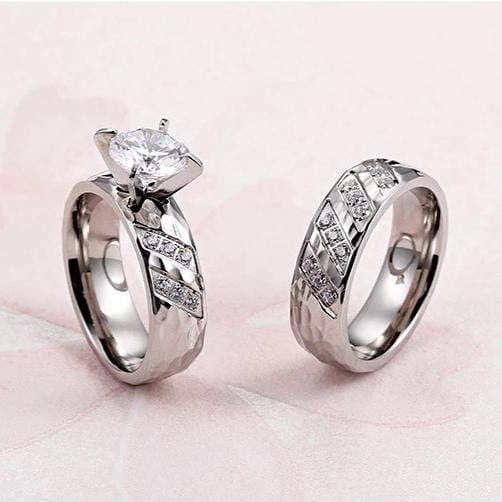 Couple's Round Diamond 6.0mm Hammered Promise Engagement Rings in Titanium