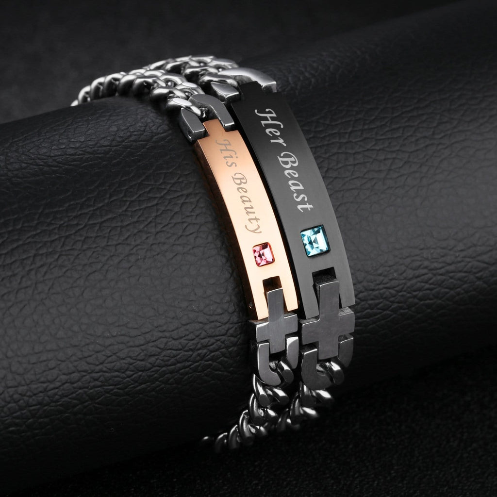 His Beauty Her Beast with Silver Cross Matching Bracelets for Couples