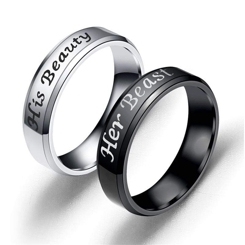 Couple's Her Beauty His Beast Titanium Promise Ring