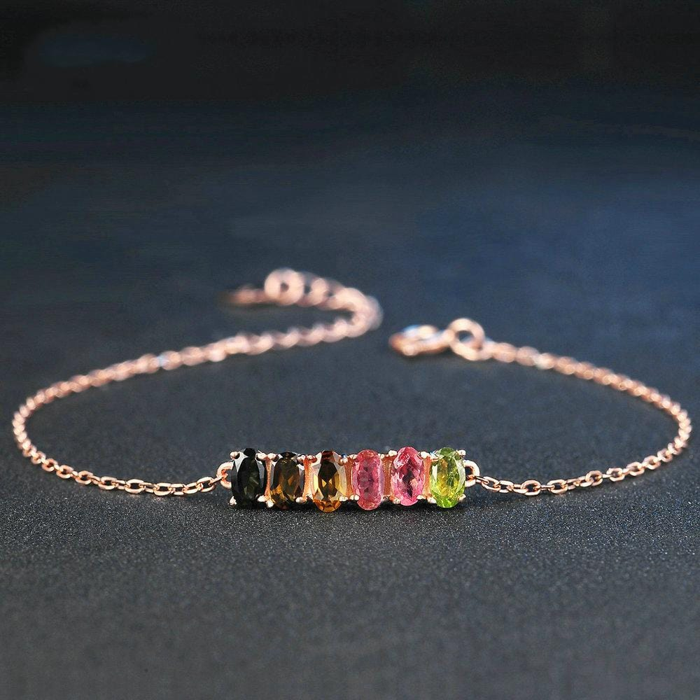 Rainbow Gem Rose Gold Plated S925 Sterling Silver Bracelet