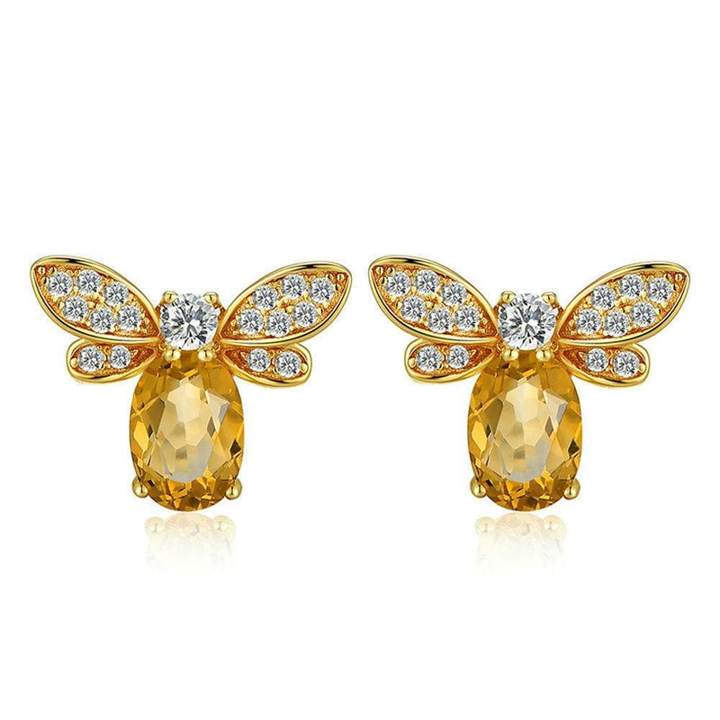 Lovely Bee Oval Yellow Citrine S925 Sterling Silver Studs Earrings