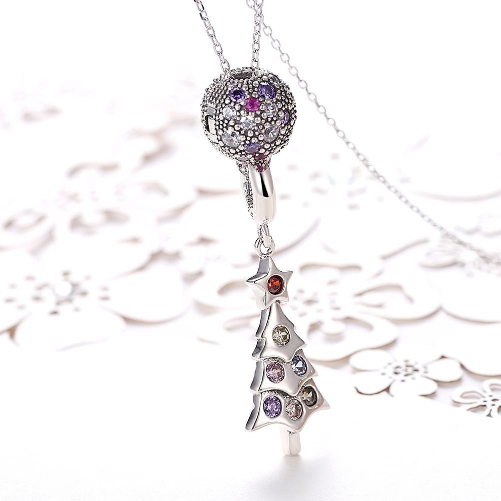 S925 Sterling Sliver Christmas Tree Necklace