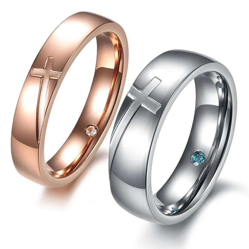Silver and Rose Gold Cross Stainless Steel Couple Rings