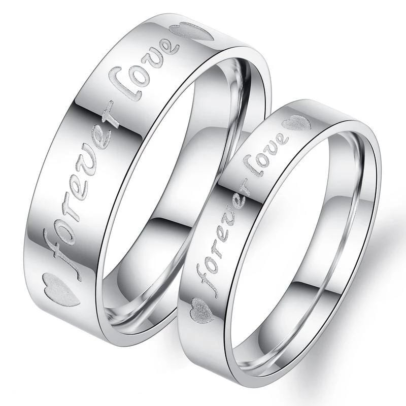 Forever Love with Heart Stainless Steel Couple Rings