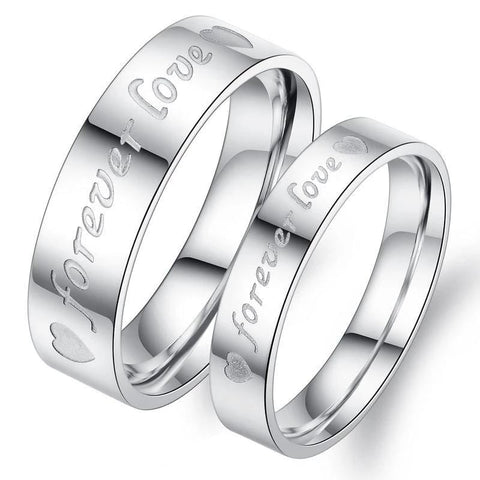 Couple's 6.0mm Engravable Her Demon & His Angel Infinite Love Promise Ring in Stainless Steel with Black & Rose IP