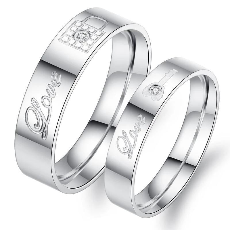 Love Key and Lock Stainless Steel Couple Rings