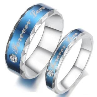 Forever Love Blue Stainless Steel Couple Rings