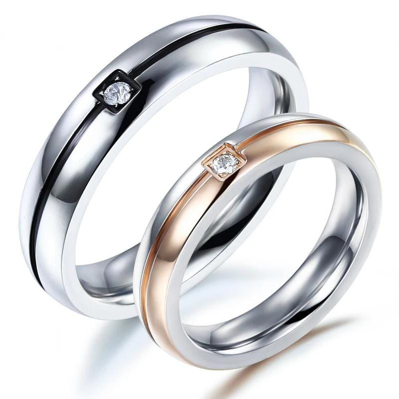 Elegant Black and Rose Gold Stainless Steel Couple Rings