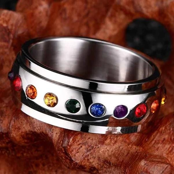 Unisex Round Cut Multi-Stone Stainless Steel Ring