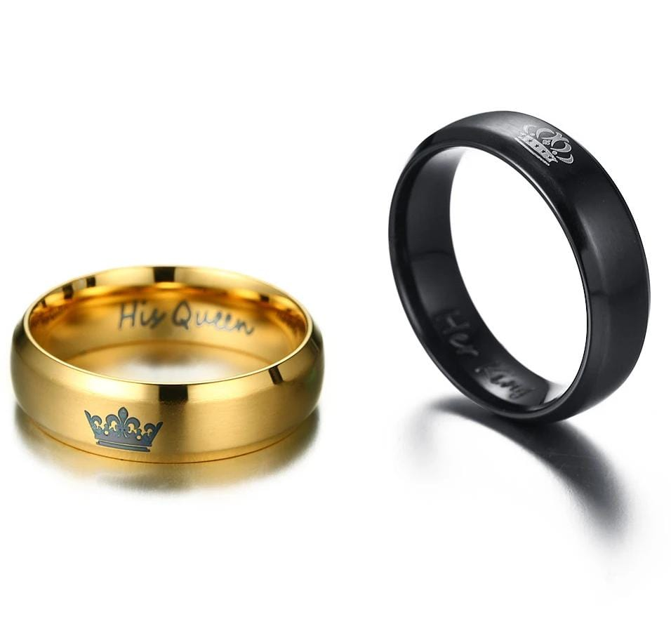Her King His Queen Black and Yellow Gold Matte Finished Stainless Steel Couple Rings