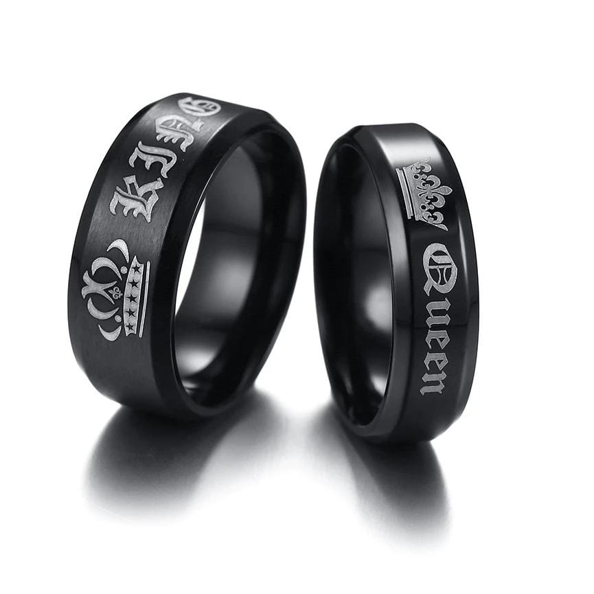 Queen and King Black Matte Finished Stainless Steel Couple Rings