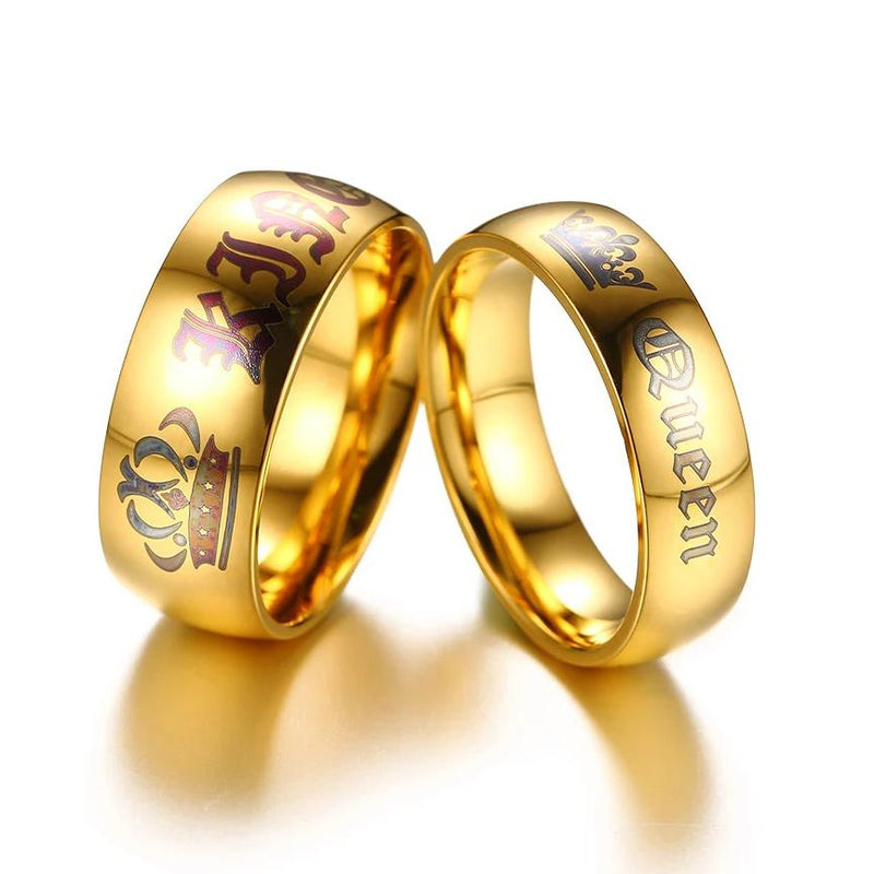 Queen and King Gold Plated Stainless Steel Couple Rings