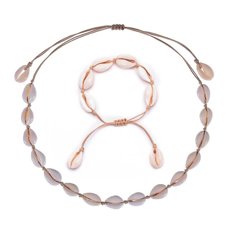 Handmade 12-28Inch Adjustable Size Natural Shell Bead Choker Set