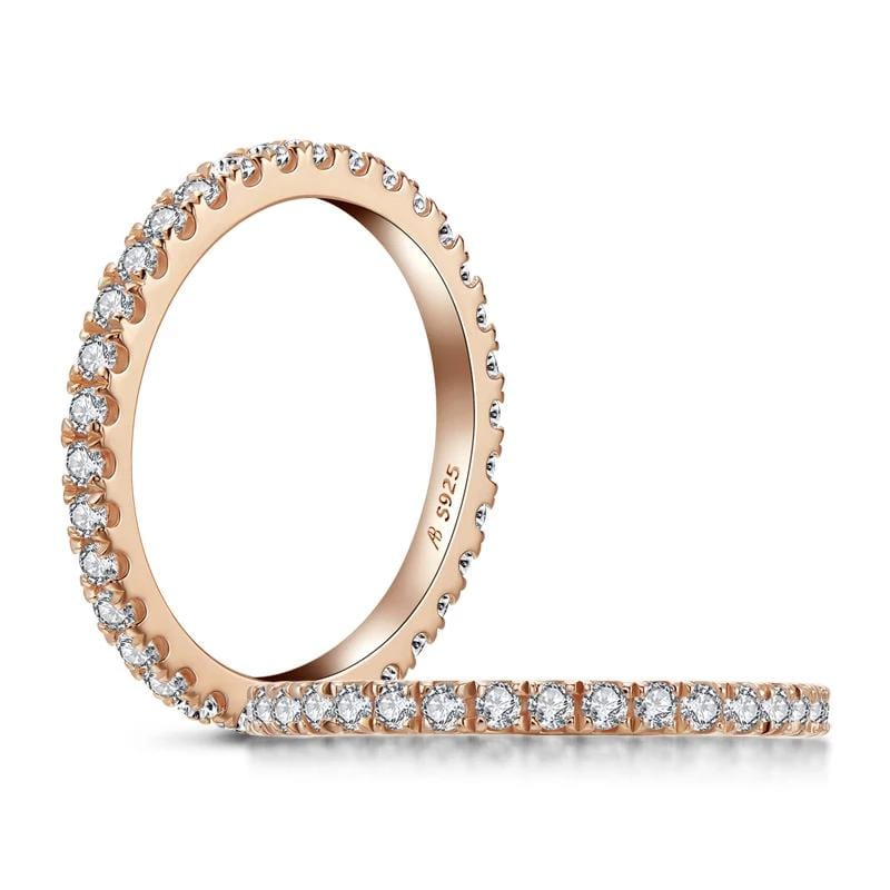 1/2 CT. Diamond Rose-Gold Stackable Eternity Wedding Band in Sterling Silver ALLBIZIA