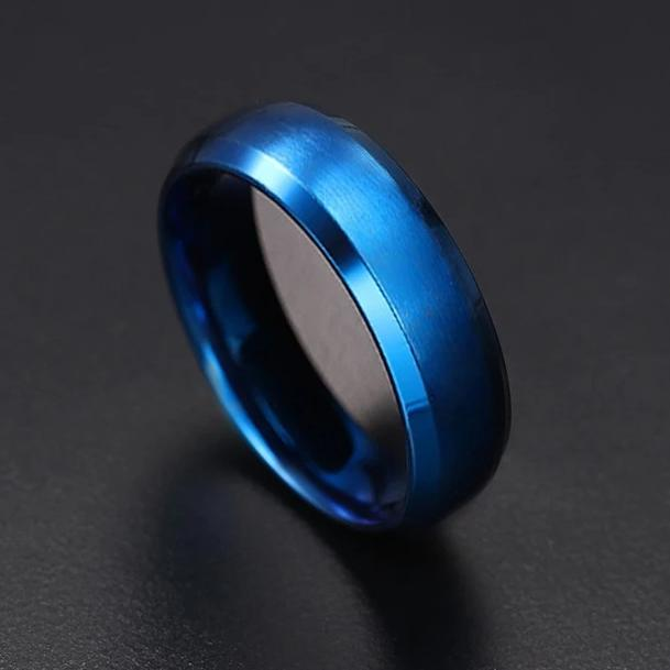 Unisex 6.0mm Engravable Wedding Band in Stainless Steel (Black/Blue/Yellow IP)