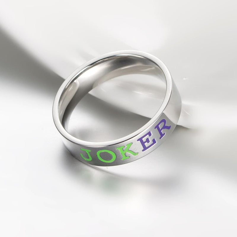 Couple's 6.0mm Engravable Multi-Color Enameled Joker & Harley Promise Rings in Stainless Steel