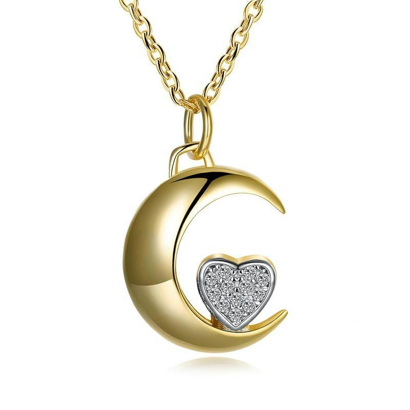 Moon Heart Two-tone plated Sterling Sliver Necklace