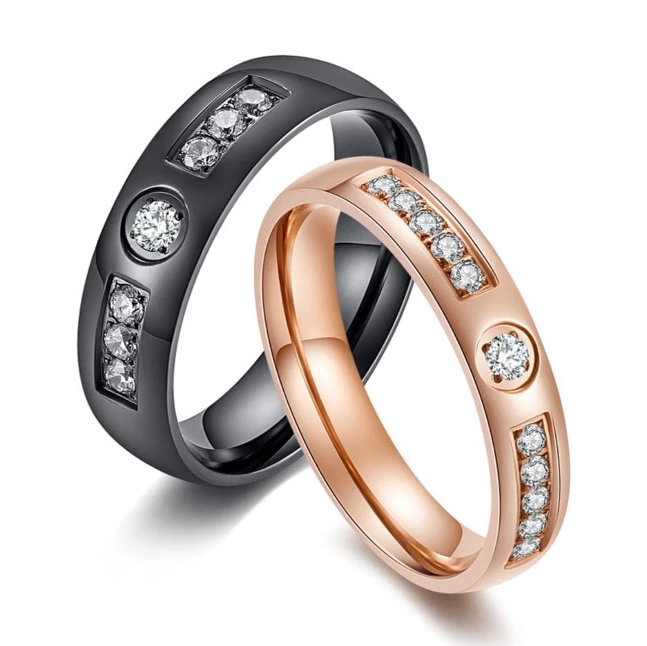 Couple's Round-Cut Sapphires Engravable Titanium Promise Rings with Black & Rose IP