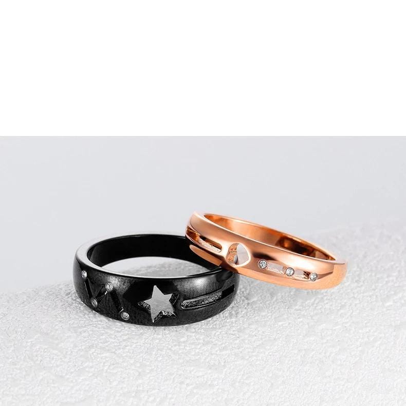 Hollow Star and Heart Stainless Steel Valentines Gift Couple Rings