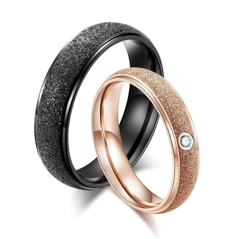 Couple's Frosted Polished Titanium Promise Ring with Rose & Black IP