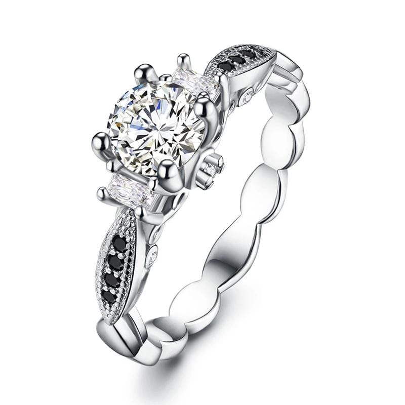 0.8 CT. Round and Baguette Diamond Three Stones Engagement Ring in Sterling Silver ALLBIZIA