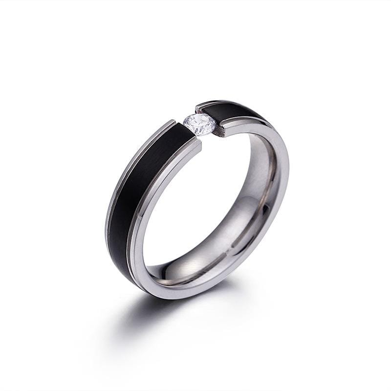 Couple's Tension Setting Round Diamond Promise Rings in Titanium with Black and Rose IP