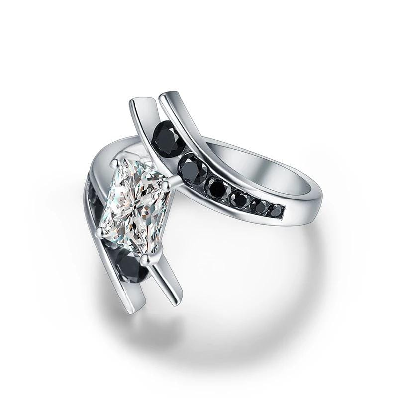 2.0 CT. Radiant Diamond Bypass Designed Engagement Ring in Sterling Silver ALLBIZIA