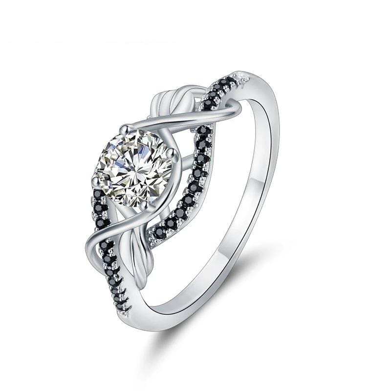 1.0 CT. Round Diamond Twist Shank Engagement Ring in Sterling Silver ALLBIZIA