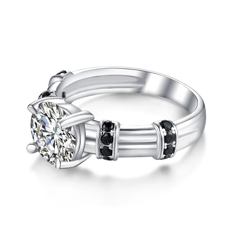2.0 CT. Round Diamond with Side Accents Engagement Ring in Sterling Silver ALLBIZIA