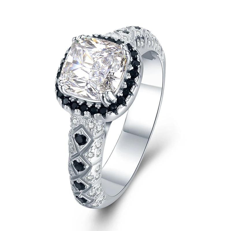 2.0 CT. Radiant-Cut Diamond Halo Frame Pavé-Set Engagement Rings in Sterling Silver ALLBIZIA