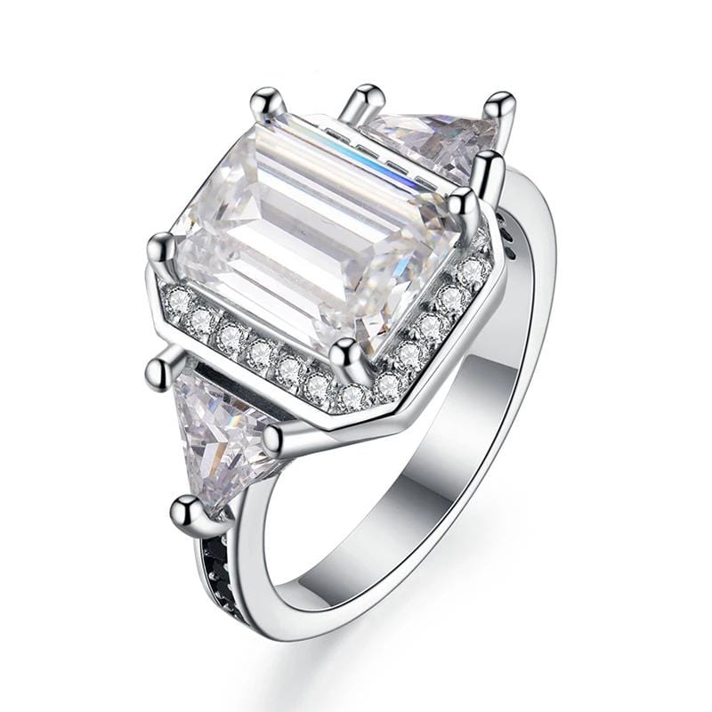 3.0 CT. Emerald-Cut Diamond Three Stones Engagement Ring in Sterling Silver ALLBIZIA