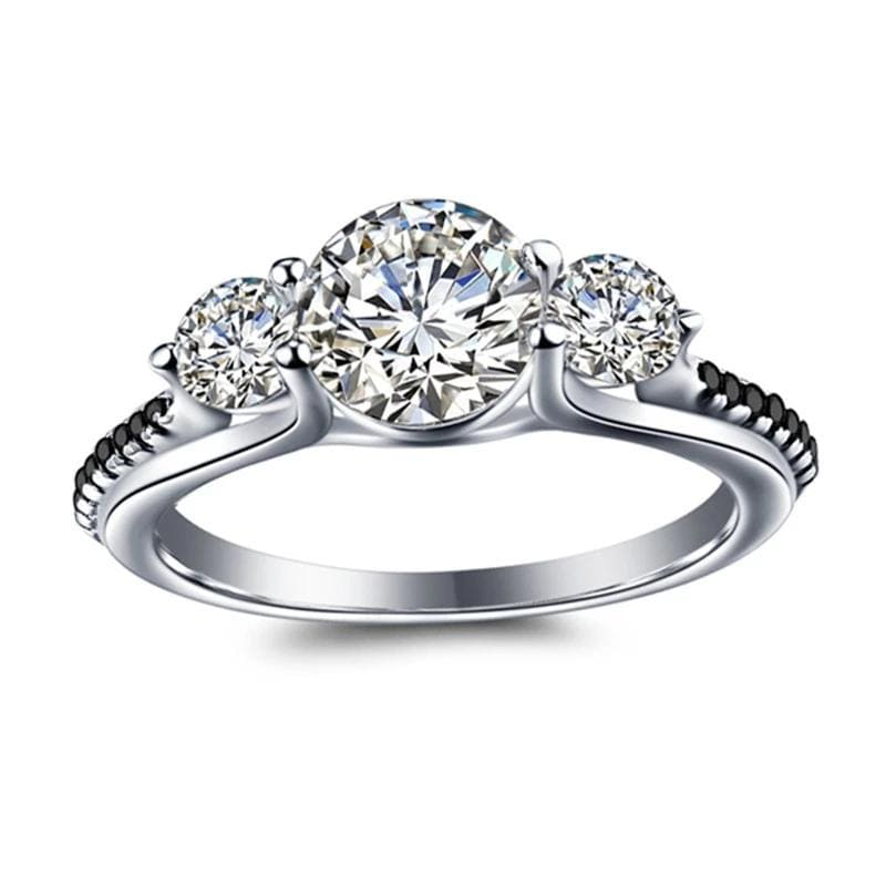 1.25 CT. Enhanced Black and White Diamond Cathedral-Set Engagement Ring in Sterling Silver ALLBIZIA
