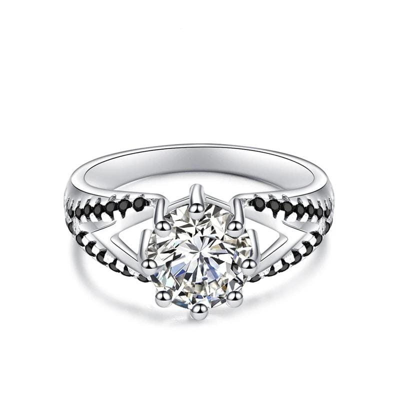 2.0 CT. Round Diamond Split Shank Engagement Ring in Sterling Silver ALLBIZIA